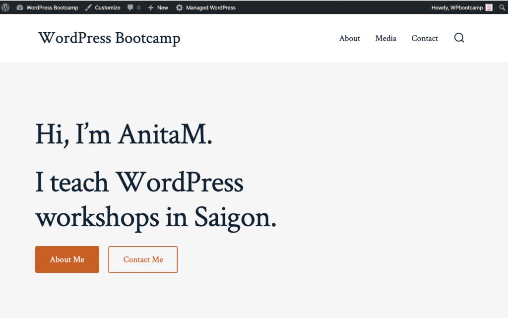 Demo WordPress Website for WordPress Bootcamp | AnitaM