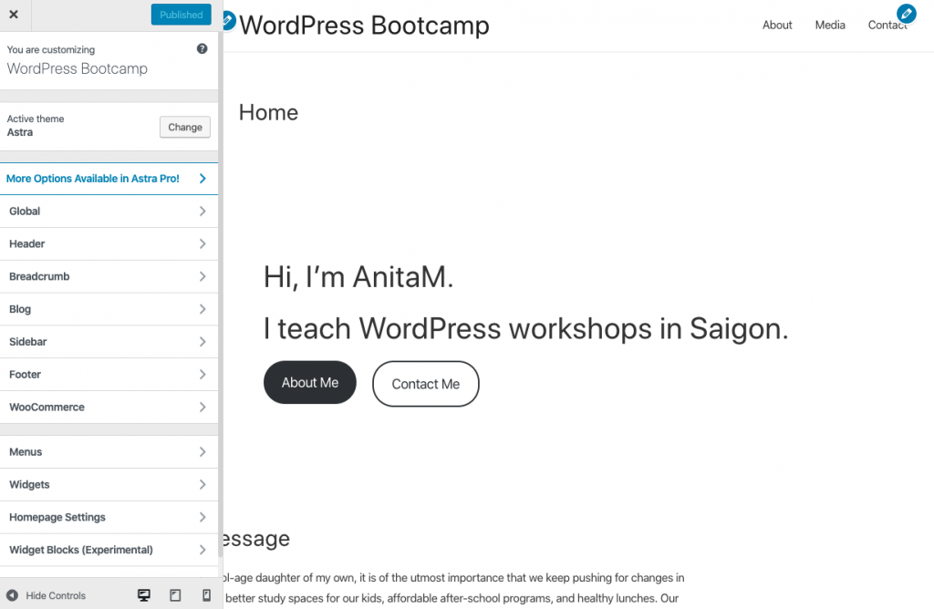 WordPress Customizer | AnitaM