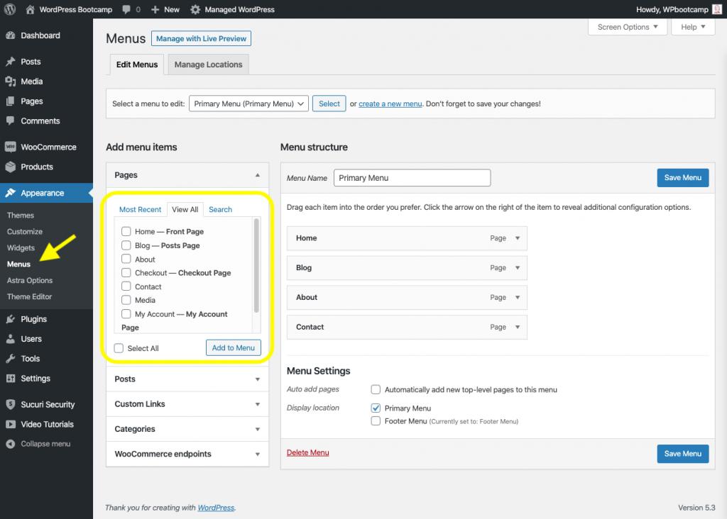 Add Pages to WordPress Menu | AnitaM